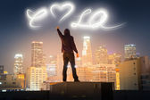 Los Angeles light graffiti — Stock Photo