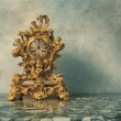 Vintage golden clock — Stock Photo