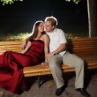 Couple on bench — Stock Photo