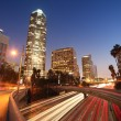 图库照片: Freeway traffic in downtown Los Angeles