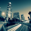 Stok fotoğraf: Freeway traffic in downtown Los Angeles