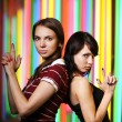 Two beautiful young women posing — Foto Stock
