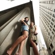 Two sexy young women in New York City — Stock Photo
