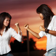 Two asian women fighting — Stock Photo