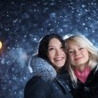 Happy winter girls — Stockfoto