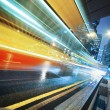Fast moving bus at night — Foto Stock