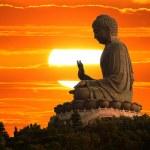 Buddha at sunset — Stock Photo