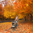 Woman walking with stroller outdoors — Stock Photo