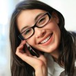 Beautiful woman talking on phone — Stock Photo