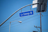 La Cienega Blvd street sign in Los Angeles — Stock Photo