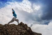 Yoga on mountain — Stock Photo