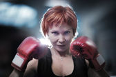 Woman boxing — Stock Photo