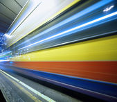 Speeding bus, blurred motion. — Stock Photo