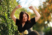 Joyful plus size girl — Stock Photo
