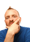 Caucasian man with mohawk over white background — Stock Photo