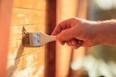 Pintura de la mano con cepillo — Foto de Stock