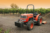 Small red tractor in vineyard — Stock Photo