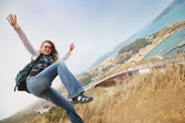 Happy young woman exploring Northern California — Stock Photo