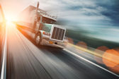 Truck on freeway — Stock Photo