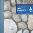 Stockfoto: Disable lake manager sign