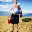 Man ready for fun at sunny tropical beach — Foto Stock