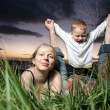 Stock Photo: Young family with small child outdoors