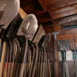 Shovels inside garden shed — Stock Photo