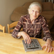 Senior woman calculating — Stock Photo