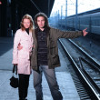 Young couple hitchhiking at train station — Stock Photo #32906929