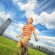 Boy running outdoors — Stock Photo