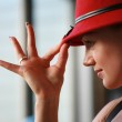 Beautiful young woman in red hat — Stock Photo #32908743