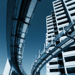 Futuristic monorail going around skyscrapers. — Stock Photo #32909173