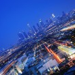 图库照片: Downtown Los Angeles at twilight.