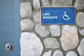 Disable lake manager sign — Zdjęcie stockowe
