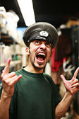 Man in military service cap shouting — Foto de Stock