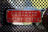 Retro fire truck chrome grille detail — Stock Photo