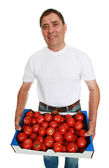 Man with box of fresh tomatoes — Stock Photo