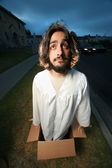 Funny man looking like Jesus — Stock Photo