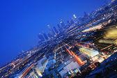 Downtown los angeles på twilight. — Stockfoto