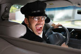 Mad driver in the car. — Stock Photo