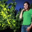 Woman standing next to grape plant — Stock Photo