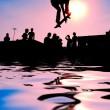 Jumping skateboarder silhouette — Stock Photo