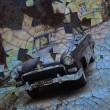 Aged vintage car background. — Stock Photo
