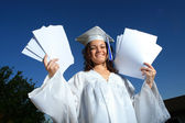 Young graduate woman with blank papers. — Stock Photo