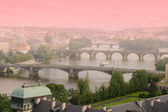 Aerial view of Bridges of Prague — Stock Photo