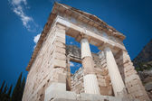 The reconstructed Athenian Treasury, Delphi, Greece. — Stock Photo