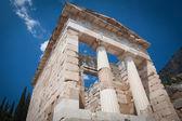 The reconstructed Athenian Treasury, Delphi, Greece. — Stock Photo