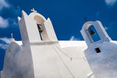 Fragment of the church with a bell tower in Santorini — Stock Photo