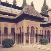 Lions courtyard in Alhambra. Granada — Stock Photo