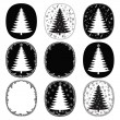 Hand drawn christmas trees and frames vector set — Stock Vector
